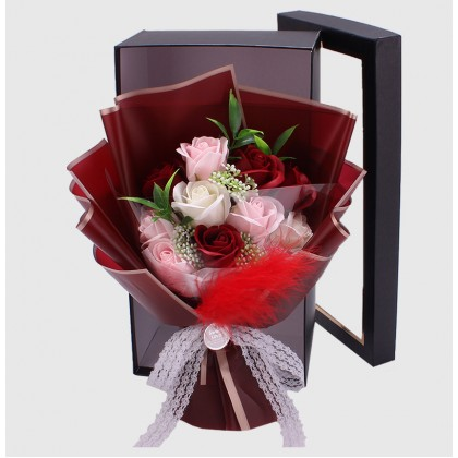 Box Gift Korean Style Soap Flower Bouquet Roses with LED Lights ; Buket Bunga Mawar Gaya Indah berlampu