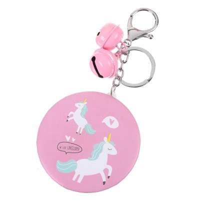 Keychain Pocket Mirror Unicorn , Cute & Sweet Keyring with Make Up Mirror & Mini Bell ; Korean Key Chain Style ; Cermin Kecil