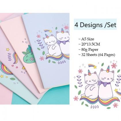 4in1 Set A5 Notebook Caticorn Unicorn Cat Diary Cartoon Design Stationery Gifts ; 4 Buah Buku Nota Kartun Kreatif