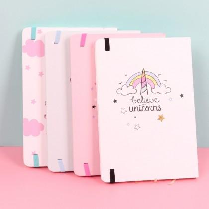 Hard Cover A6 Super Star Unicorn Dream Believe In Magic Notebook Elastic Band Diary Stationery Gifts ; Buku Nota Bintang