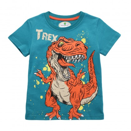 G-Fashion Dinosaur T-Rex Color Tshirt Kids Boy Short Sleeve Cotton Tees Clothing Outfit Gift Ideas ;T-shirt Budak Lelaki