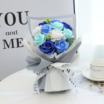 2021 Trendy Korean Style Flower Love Gifts ; Artificial Roses Soap Flower Bouquet Flowers Valentine Addons LED Lighting