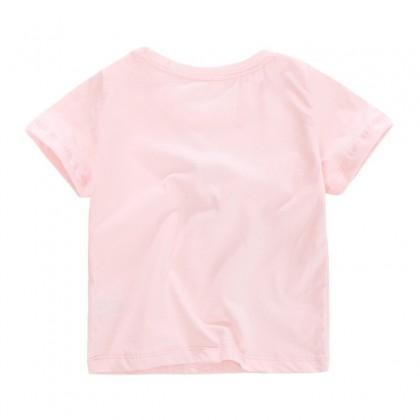 G-Fashion Unicorn Princess Tshirt Kids Girls Short Sleeve Cotton Tees Clothing Outfit Gifts ; T-shirt Budak Perempuan