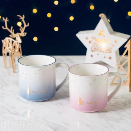 Simple Life Gift Mug ; Fine Ceramic High Quality 450ML Coffee/Tea Cups with Color Gradient Design ; Cat Dolphin Penguins