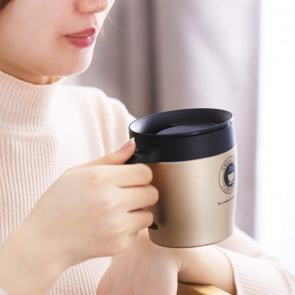 Stylish Thermal Mug Stainless Steel Insulated Keep Warm Thermos Travel Flask Big Coffee Cup Office Tumbler w. Lid Cover