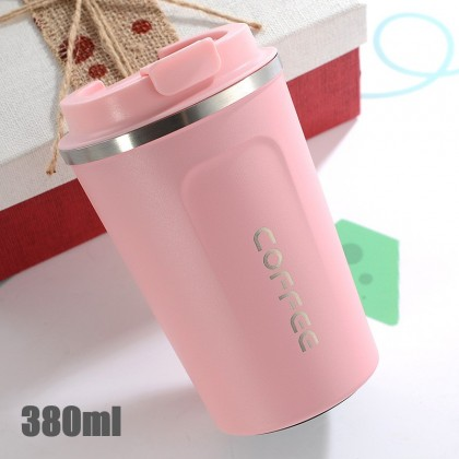 380ml Thermal Mug Stainless Steel Insulated Keep Warm Thermos Travel Flask Big Coffee Cup Office Tumbler w.Lid 真空咖啡保温杯