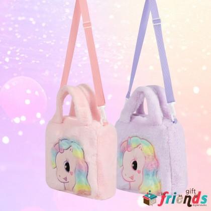 Kawaii Plush Unicorn Messenger Crossbody Sling Bag Super Soft for Kids Girls Daughter Princess ; School Shopping Travel