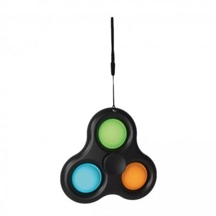 2 IN 1 Pop It & Fidget Spinner Keychain Push Bubble Finger Fun Stress Relief Toy ; Simple Dimple Children's Door Gifts