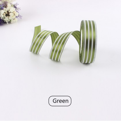 G-Friends 1 Meter x 2.5cm Line Striped Satin Ribbon Flower Bouquet Gift Box Wrapping Party Event Decor Reben Garisan